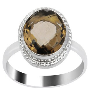 Orchid Jewelry Silver Overlay 6 4/5 Carat Smoky Quartz Handmade Fashion Ring