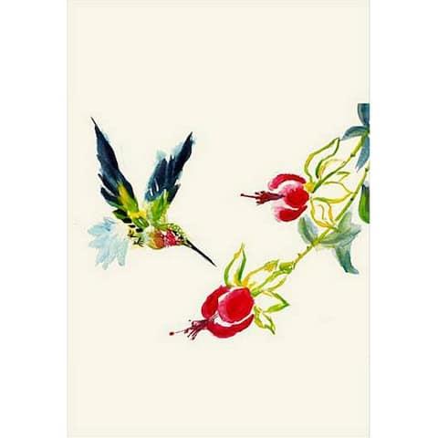 Betsy Drake Hummingbird Multicolor Synthetic Fiber Flag