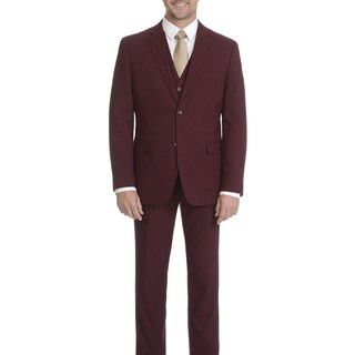 Caravelli Men's Burgundy Slim-fit 2-button Vested Suit
