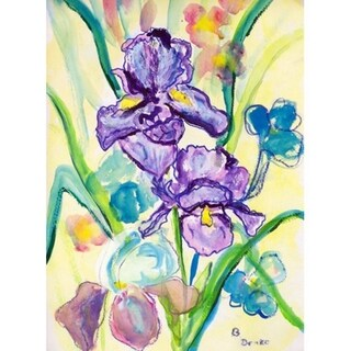 Betsy Drake Two Irises Multicolored 28-inch x 40-inch Flag