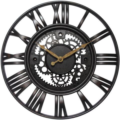 Infinity Instruments Roman Gear Molded Plastic 15-inch Wall Clock
