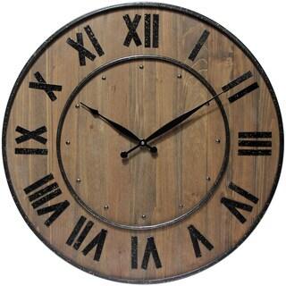 Infinity Instruments Wine Barrel Wood/Steel 23-inch Wall Clock