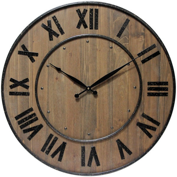 Wine Barrel Roman Numeral Open Face Large Wooden 23 inch Wall Clock by Infinity Instruments