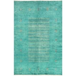 Herat Oriental Afghan Hand-knotted Vegetable Dye Gabbeh Wool Rug (4'11 x 7'4)