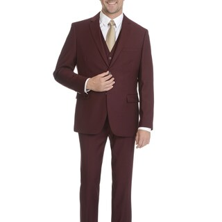 Caravelli Men's Burgundy Vested 2-button Slim Suit