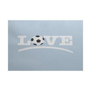 Love Soccer, Word Print Indoor/Outdoor Rug