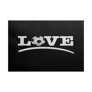 2 x 3-ft, Love Soccer, Word Print Indoor/Outdoor Rug, Black