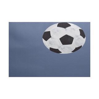 Soccer Ball, Geometric Print Indoor/Outdoor Rug