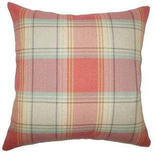 Cagney Plaid 22-inch Down Feather Throw Pillow Red