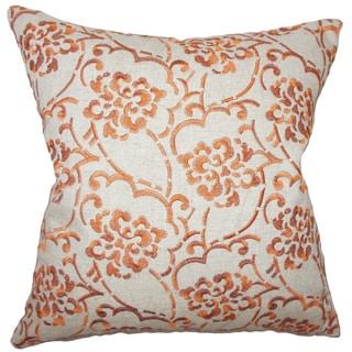 """Zaltana Floral 22"""" x 22"""" Down Feather Throw Pillow Orange"""