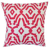 "Zephne Geometric 22"" x 22"" Down Feather Throw Pillow Pink"
