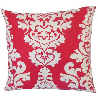 "Wilona Damask 22"" x 22"" Down Feather Throw Pillow Pink"