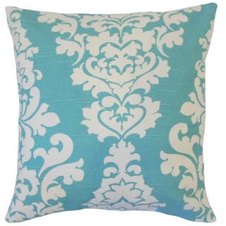 "Wilona Damask 22"" x 22"" Down Feather Throw Pillow Blue"