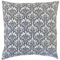 Paulomi Damask 22-inch Down Feather Throw Pillow Navy
