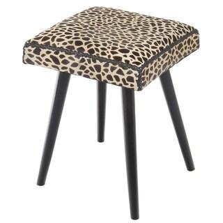 Safari Cow Hide & Mahogany Accent Stool, Leopard Print