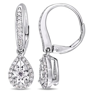 Miadora Signature Collection Sterling Silver 1/2ct TDW Pear-Cut Diamond Halo Leverback Earrings