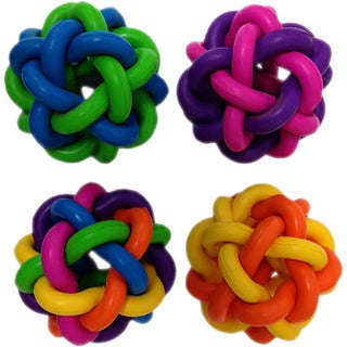 "Multipet Nobbly Wobble Interwoven Ball With Bell 2pk 1.75""Ea-"
