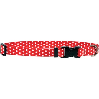 Yellow Dog Collar - New Red Polka Dot