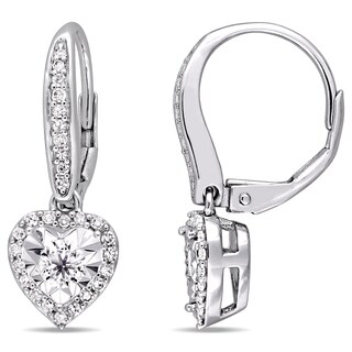 Miadora Signature Collection Sterling Silver 1/2ct TDW Heart-Cut Diamond Halo Leverback Earrings