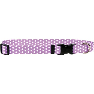 Yellow Dog Collar - New Purple Polka Dot
