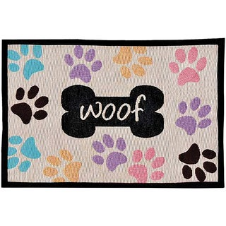 """Bella Fashion Mats 12.75""""X19""""-Woof With Multi Paws"""