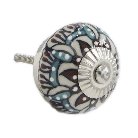 Edelweiss Flower Ceramic Cabinet, Drawer Knob Pulls (Pack of 6)