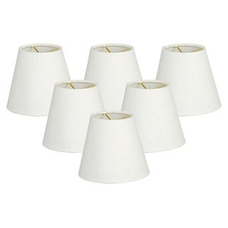 Royal Designs Hardback Empire Linen White 3 x 6 x 5.5-inch Clip-on Chandelier Lamp Shade (Set of 6)