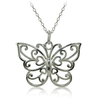 Mondevio Sterling Silver High Polished Filigree Butterfly Necklace (Option: Gold Plate - Pink)