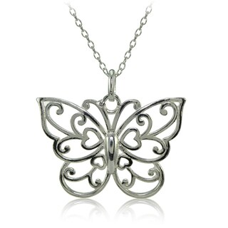 Mondevio Sterling Silver High Polished Filigree Butterfly Necklace (Option: Pink)