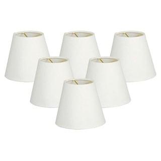 "Royal Designs 5"" Hardback Empire Chandelier Lamp Shades Set of 6 Linen White"