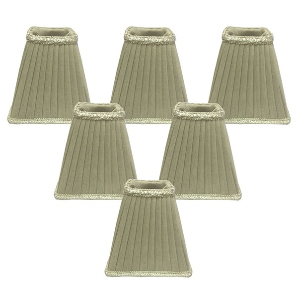 Royal Designs Oyster-Colored Sharp Square Pleated 2.5 x 5 x 5-inch Clip-on Chandelier Lamp Shade (Set of 6)