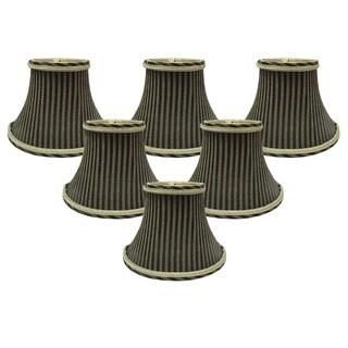 """Royal Designs 6"""" Decoratie Trim Chandelier Lamp Shades Set of 6 Antique Gold & Black"""
