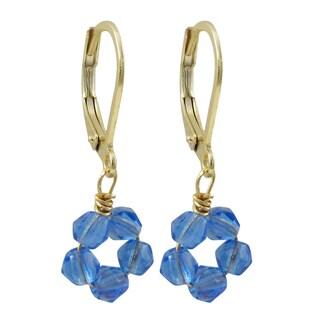 Luxiro Gold Finish Crystal Bead Flower Children's Dangle Earrings