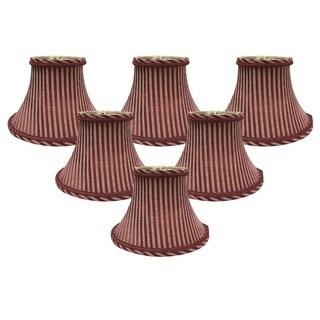 "Royal Designs 6"" Chandelier Lamp Shades Set of 6 Antique Gold & Burgundy"