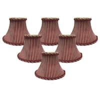 "Royal Designs 6"" Chandelier Lamp Shades Set of 6 Antique Gold & Burgundy"