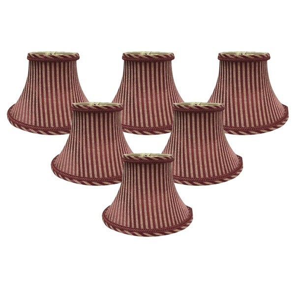 "Royal Designs 6"" Chandelier Lamp Shades Set of 6 Antique Gold & Burgundy - 6""d each"