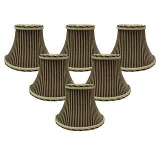 "Royal Designs 6"" Chandelier Lamp Shades Set of 6 Antique Gold & Brown"