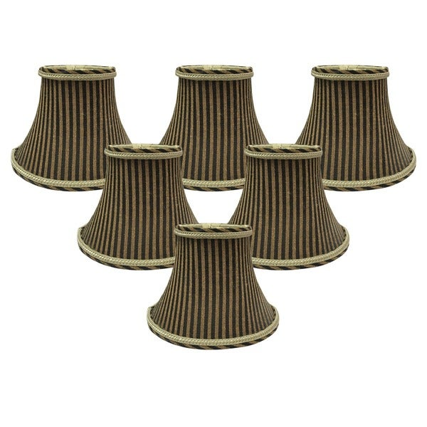 "Royal Designs 6"" Chandelier Lamp Shades Set of 6 Antique Gold & Brown"