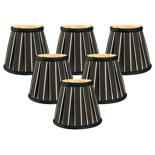 "Royal Designs 5"" Decorative Trim English Pleated Chandelier Lamp Shades Set of 6 Black"