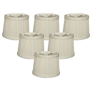 """Royal Designs 6"""" Gather Pleat Chandelier Shades Set of 6 White"""