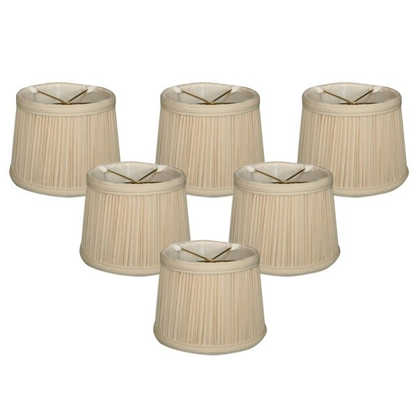 "Royal Designs Eggshell Gather Pleat Drum Chandelier Shade 5"" x 6"" x 4.5"", Clip On-Set of 6"