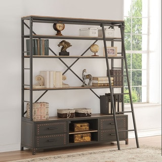 Acme Furniture Actaki Sandy Grey Etagere Bookcase with Ladder