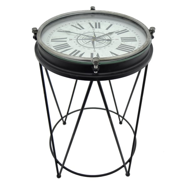 Three Hands Black Metal End Table Clock