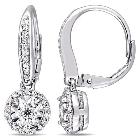 Miadora Signature Collection Sterling Silver 1/2ct TDW Diamond Round Halo Leverback Earrings - White