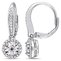 Miadora Signature Collection Sterling Silver 1/2ct TDW Diamond Round Halo Leverback Earrings