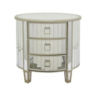Three Hands Wood Mirrored Accent Table