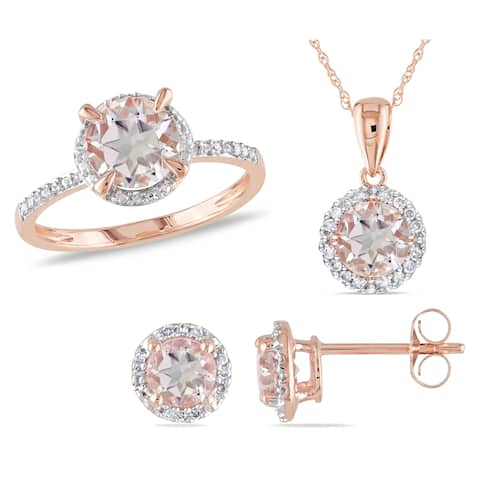 Miadora Signature Collection 10k Rose Gold Morganite and 1/5ct TDW Diamond Halo Ring, Stud Earrings, and Necklace Set