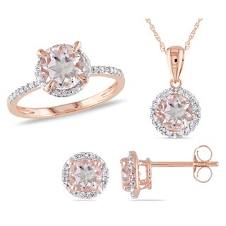 Link to Miadora Signature Collection 10k Rose Gold Morganite and 1/5ct TDW Diamond Halo Ring, Stud Earrings, and Necklace Set Similar Items in Necklaces