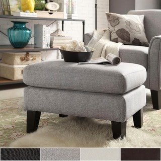 Uptown Modern Ottoman by TRIBECCA HOME in White linen(As Is Item)