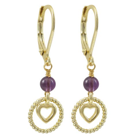Luxiro Gold Finish Beaded Floating Heart Children's Dangle Earrings